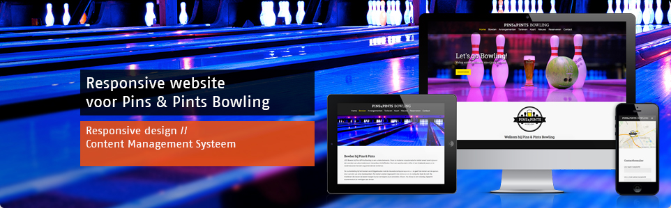 Responsive website Pins & Pints Bowling
